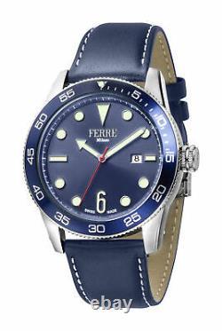Ferre Milano Homme Fm1g109l0011 Blue Dial Blue Leather Date Wristwatch