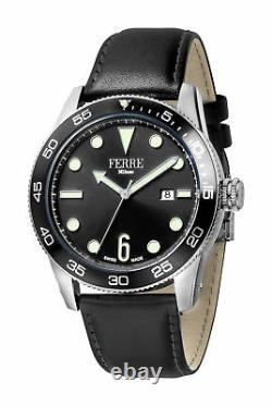 Ferre Milano Homme Fm1g109l0021 Black Dial Black Leather Date Wristwatch