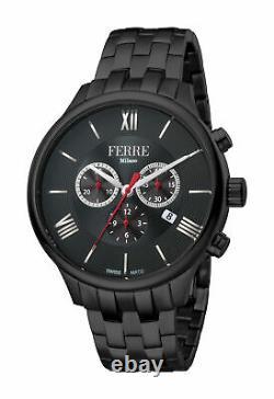 Ferre Milano Homme Fm1g144m0051 Chronograph Black Ip Steel Date Wristwatch