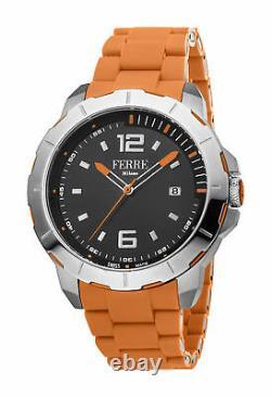 Ferre Milano Men's Fm1g107m0021 Dial Noir Date D'orange Date Montre-bracelet