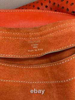 Fontana Milano 1915 Muted Coral Nubuck Perforated Motif Saddle Bag 16,5 X 10