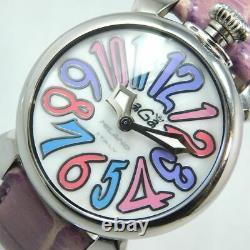 Gaga Milano Manuale 40 Silver Shell Femmes Watch Italy Quartz Purple Band