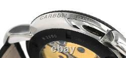 Gaga Milano Manuale 48mm Carbon Steel Crocodile Leather Strap Watch