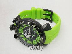 Gaga Milano Manuale Chrno 6054.2 Ss Caoutchouc De Ceinture En Caoutchouc Quartz Watch D'occasion Ex ++