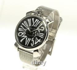 Gaga Milano Manuale Slim 46 5080.2 Petites Secondes Cadran Noir Quartz Homme 558299