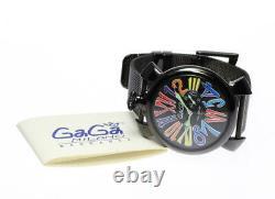 Gaga Milano Manuale Slim 46 5082.1 Cadran Noir Quartz Montre Homme 563429
