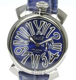 Gaga Milano Manuale Slim 46 5084.3 Petites Secondes Cadran Bleu Quartz Homme 571050