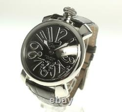 Gaga Milano Manuale48 5010.04s Main Noire Winding Homme Watch 552372