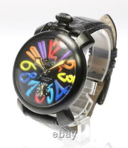 Gaga Milano Manuale48 5012.03s Noir Dial Hand Winding Montre Homme 542850