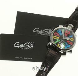 Gaga Milano Manuale48mm 5010.02s Cadran Noir Winding Men's Watch(a) 511963