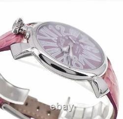 Gaga Milano Slim 46 8054.6 Cadran Violet Ss/leather Quartz Unisex Watch U#100703
