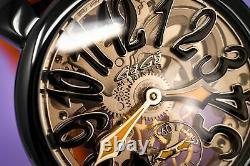 Gagà Milano Squelette Unisex Mechanical Watch 48mm Noir Pvd Orange
