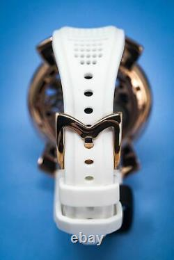 Gagà Milano Squelette Unisex Mechanical Watch 48mm Rose Gold Blue