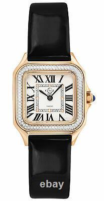 Gv2 Par Gevril Femmes Milan 12101 Diamond Rose-gold Ip Montre De Poignet En Cuir