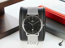 Junghans Performance Milano Solar Quartz Watch, Noir, 37mm, Jour, 014/4061.44