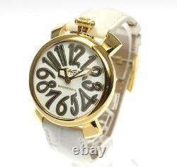 Manuel Gaga Milano40 5021. Wh. Bh Cadran Blanc Quartz Ladies Watch 558359