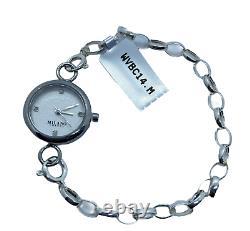 Montre En Acier Inoxydable Quartz Analogique Sterling Bracelet En Argent Et Diamants 8