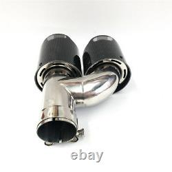 Paire Gloss Carbon Fiber Car Exhaust Tip Muffler Pipe Trim Accessories 2.5to3.5